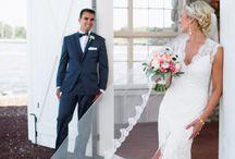Brudklänning och slöja