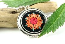 Embroidered flower jewelry