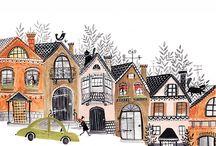 city + house prints