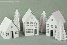 Village de Noël en carton, Xmas Cardboard Village