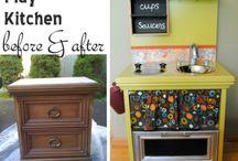 DIY kuchyňka / Inspirace na dětskou kuchyňku z nočního stolku/skříňky