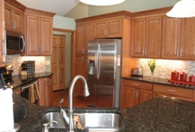 verde butterfly with dark cabinets