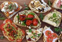 Bruschetta Bar / Hot appetizer trend for 2014, offering a bruschetta bar with a selection of delicious toppings guests assemble themselves.  Creates an interactive station encouraging mingling.