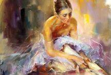"""ANNA RAZUMOVSKAYA / Nació en Rusia en medio de la Guerra Fría.Con sus formas figurativas clásicas, mágicamente captura el romanticismo lírico de retratos renacentistas. Se inspira en la elegancia graciosa de la forma femenina, en las curvas, atractiva clásica, recatada y provocativa. Su arte tiene una sensación generalizada de """"romanticismo"""", la aplicación apasionada y dinámica de la pintura en el lienzo y el uso de su firma mediante el color expresivo; una combinación crear su estilo único y reconocible."""