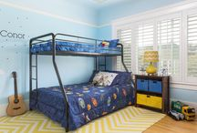 Boy's Room / 10 year old Boy's Room with astronaut theme and yellow/blue color combination.