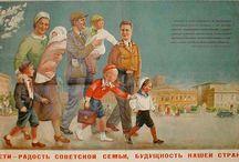 советские плакаты и открытки. семья