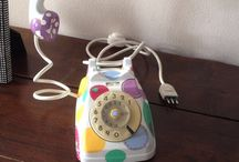 Telefono lampada decorato / Telefono lampada vintage decorato