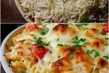 Comida con pasta y queso