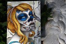 Day of the Dead Art / Dia de los Muertos themed artwork. Beautiful Catrinas and Calaveras. My celebration of the Day of the Dead. Illustrations and paintings.