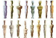 Artifacts: Cycladic Ancient Female Figurines / Found in Greece. Most from the Cycladic Museum in Athens.