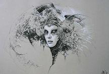 Ilustraciones / imágenes hechas con lápiz y papel, o acuarelas, o ceras, o...