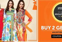 Kurti Revolution / #Kurti is the new top. Let the tradition of half a billion women in India become your trendy new #avatar.  #KurtiRevolution  Following our motto of making our customers happy and satisfied, #Jabongworld brings to you a limited period lavish #offer of 'BUY 2 GET 2 FREE' exclusively on #Kurti. The chimerical shopping dream that you've always had, just came true!  #Buy2Get2Free #Shopping #Offer #LikeNeverBefore #Kurti