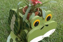 Wooden Animal Planter -