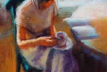 istuva nainen pastelli