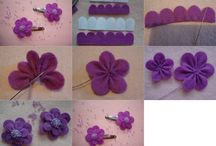 DIY Flower / Ribbons, Felt, Fabric, Paper flower
