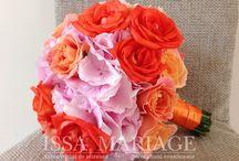 Buchet mireasa din hortensia si trandafiri corai / Buchet mireasa din hortensia si trandafiri corai