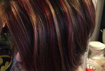 red blond on dark hair