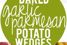 Baked Garlic Potato Wedges / Dinner Side Dish