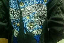 starry night- sewing by hand on a jacket