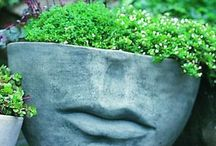 Head Pots, Face Pots - Container Gardening / Pots and containers as heads. One of my favorite ways to use plants and pots - and here are many I have spotted, plus a few of my own.  #facepots