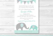 Baby shower invitations grey and green