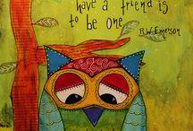 Owls mixed media