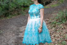 Haven of quiescence / Teal lace dress by Chichi London. Teal flowery dress by H&M. Shot in Porchefontaines, near Versailles, France.