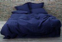 Linen Bedding in Indigo Blue / Duvet covers, pillowcases, Fitted and Flat sheets coordinated in Indigo blue color