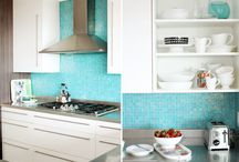 my kitchen ideas / renovating my kitchen - love the clean look of white and beach look of blue