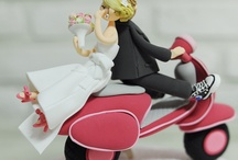 Wedding cake and toppers