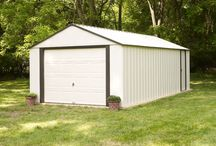 Arrow Vinyl Murryhill Series Steel Storage Shed / Made from Vinyl Coated Electro galvanized Steel these sheds have superior resistance to the elements.  The Murryhill is available in 6 large sizes; 12' x 10', 12' x 17', 12' x 24', 12' x 31',  14' x 21', and 14'x 31' to fit larger storage needs. Roll up door for easy entry to larger items and a side sliding door when the roll up is not needed.  Appealing two tone aesthetics in Almond and Coffee to complement building exteriors