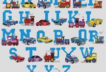 Monograma infantil motivo carros