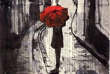 Photgraphs with red umbrella