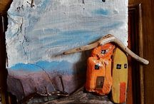 Slate and driftwood paintings