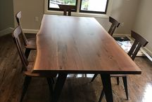 LiveEdge Dining Room Set / 7ft Amish Made Live Edge Table with Black Metal Base and 6 Side Chairs