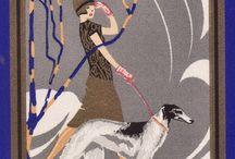 Ilustraciones de mujeres con perro.