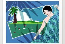 ART PRINTS: Art Deco Ladies / Art Deco Ladies - posters by artist Nancy Lorene. / by Nancy Lorene