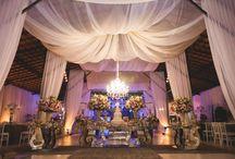 Decoração de casamento moderno / Inspiração para decoração de casamento moderno, com mesas espelhadas, mistura de diferentes elementos.