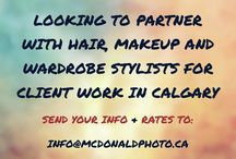 Business Collaboration Calgary / Want to work with us? We're looking for hair, makeup, wardrobe and fashion professionals in Calgary, AB to collaborate on paid client projects & fun creative endeavours. Send your info and rated to info@mcdonaldphoto.ca