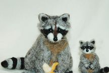 needle felted racoon, squirrel