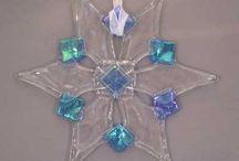fused glass Xmas decs