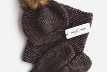 вязанные шарфы и шали , шапки