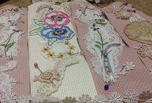 Bookmarks by Jannine / Bookmarks using recycled linen,lace & embroidery.