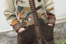 связанное пальто женское