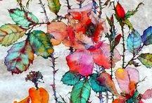 Veldbloemen / Waterverf, aquarel