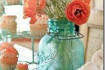 ༺ ♥ Coral and Teal/Turqoise ♥ ༻