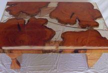 tables / hand crafted tables, macrocarpa, swamp kauri, liquid resin, oil finish