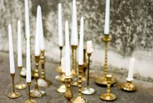 Brass wedding ideas / Brass wedding inspiration Brass candlesticks, brass lettering, a darker stationery suite and some feather details in the flowers. Colours: coral, poppies? and yellow accents, and hair ornaments incorporating brass jewellery or sprayed with a brassy metallic paint