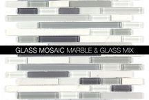 Glass and Stone Blend Glass Mosaics and Backsplash From AllMarbleTiles.com / Glass and Stone Blend Glass Mosaics and Backsplash From AllMarbleTiles.com | clear glass, honed marble, polished marble, and more mix and designs from http://allmarbletiles.com