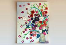 quadro con fiori uncinetto